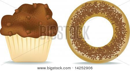 illustration of a chocolate muffin and donut
