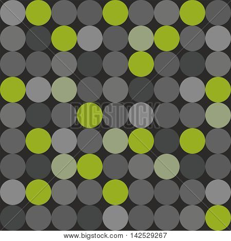 Tile vector pattern with big green, grey and black polka dots on grey background