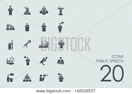 public speech vector set of modern simple icons