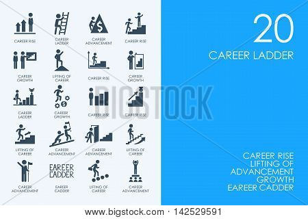 BLUE HAMSTER Library career ladder vector set of modern simple icons