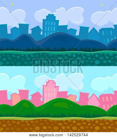 Two seamless backgrounds for a simple game, day and night scene urban landscape with hills, editable vector illustration