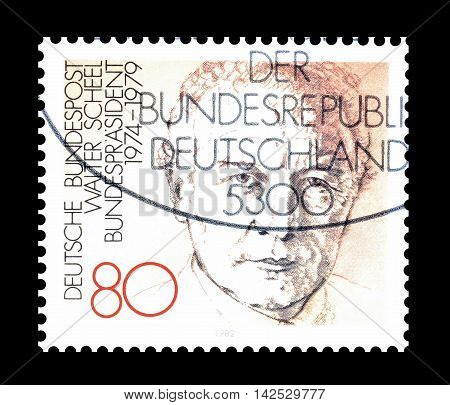 GERMANY - CIRCA 1982 : Cancelled postage stamp printed by Germany, that shows Walter Scheel.