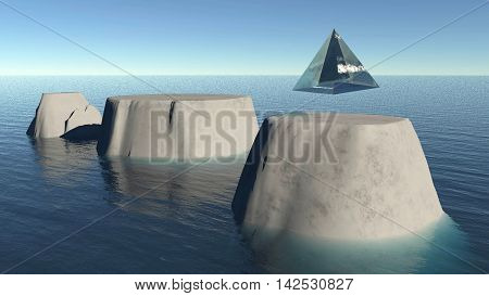 Glass pyramid descending on a flat moutain top 3D illustration fantasy background