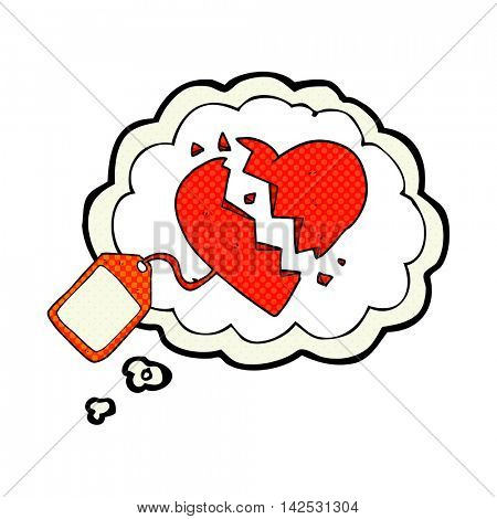 freehand drawn thought bubble cartoon luggage tag on broken heart