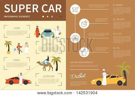 Super car infographic flat vector illustration. Editable Presentation Concept