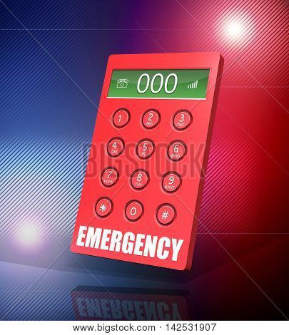 3d render of an emergency keypad with 000 abstract background.