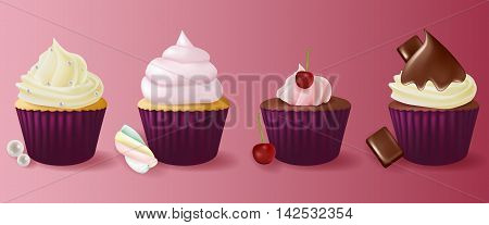 Different flavors isolated set of cupcakes on background.
