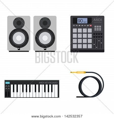 Set of Vector Illustrations of Hip-Hop Gear and Instruments including MIDI Controller With Pads, Keyboard, Acoustics and Cable