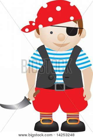 boy playing dress up as a pirate