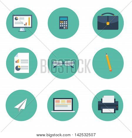 Set of vector colored icons of office