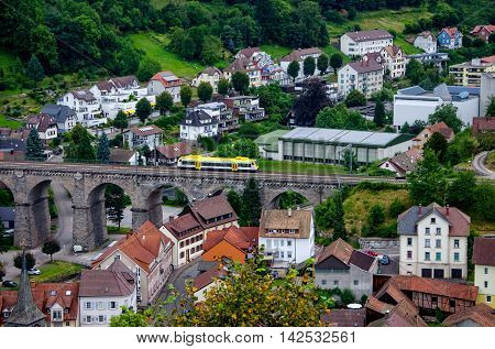 Hornberg railway viaduct with a train, Schwarzwald, Germany