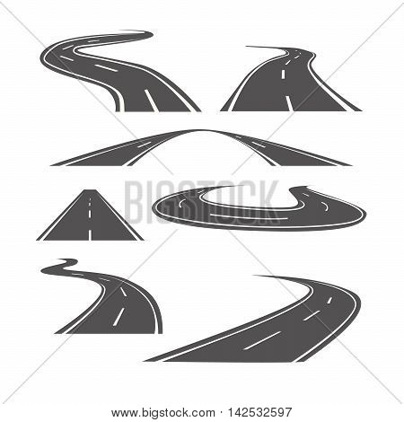 Winding curved road or highway with markings. Transportation set.