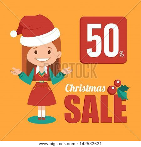 Christmas discount , sale banner, holiday banner with woman seller in Santa Clause costume. Vector illustration