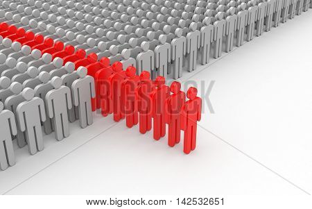 Different people. Red crowd. 3d illustration