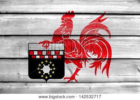 Flag Of Charleroi, Belgium, Painted On Old Wood Plank Background