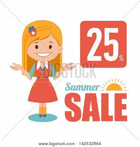 Summer discounts , seasonal sale, vector banner with woman seller. Vector illustration