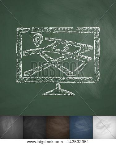 navigation icon. Hand drawn vector illustration. Chalkboard Design