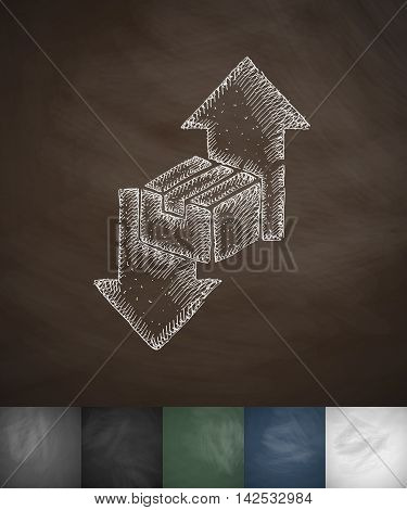 direction icon. Hand drawn vector illustration. Chalkboard Design