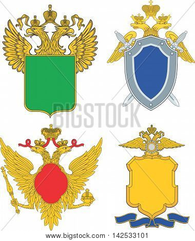 Russia emblematic and heraldic templates. Set of vector images