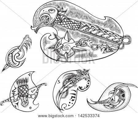 Set of decorated bird-stylized blades. Vector illustrations.