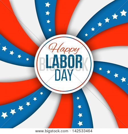 Labor day background. Modern colorful patriotic template in colors of USA flag for posters flyers decoration. Vector illustration with stars and stripes for american national holiday.