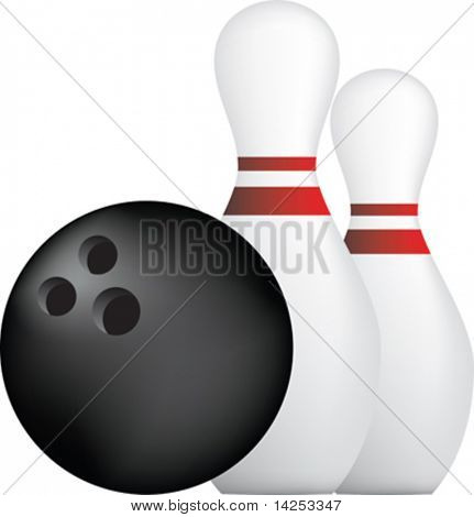 simple icon style illustration of bowling ball and pins