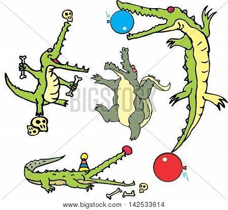 Set Of Comic Gators In Curcus (crococircus)