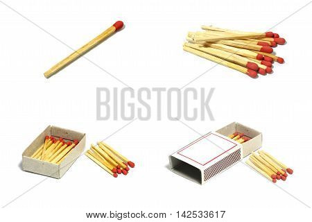 Isolated set of group red match stick with box on white background