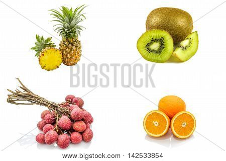 Isolated set of fruits including pineapple kiwi lychee orange citrus on white background
