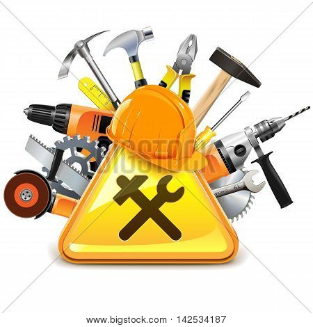 Vector Construction Tools with Sign isolated on white background