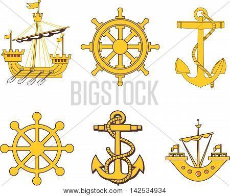 Heraldic sea marine set. Vector EPS illustrations.