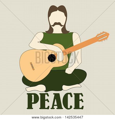Vector illustration of cross-legged hippie man with guitar sign of peace and pacifism colorful