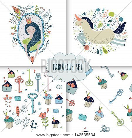 Cute magic collection with princess unicorn rainbow dragon fairy wings. Dream Spring illustration of cute animals and flowers. Fairytale design for your love card invitation children or wedding DIY.Vector isolated illustration on white.
