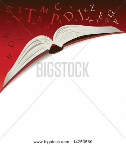 open book illustration on a red background with letters tumbling