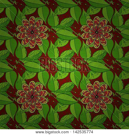 Seamles floral grunge brown background with green leaves. Vector.