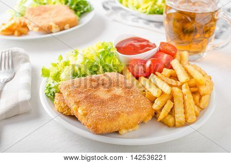 Fried Cheese With French Fries And Lettuce