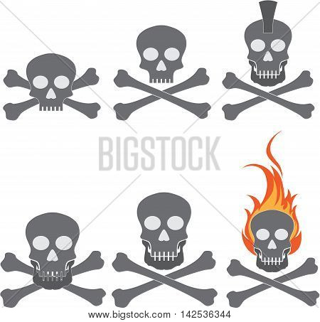 Skull and cross bones vector sketch icon isolated on background. Hand drawn Skull and cross bones icon.