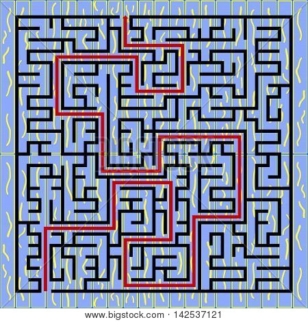 Black square maze(24x24) with help on a blue background
