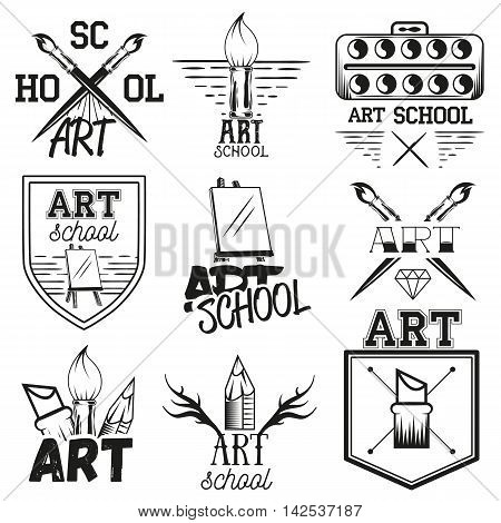 Vector set of art studio labels in vintage style. School of arts design elements, emblems, badges, logo and icons. Brushes and easel.