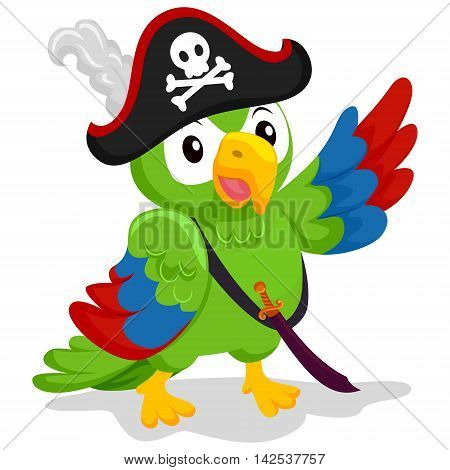 Vector Illustration of Cartoon Parrot as Pirate