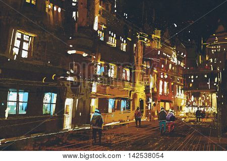 painting of night street, urban cityscape with colorful light, illustration art