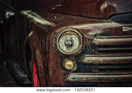 Retro Truck Closeup With Headlamp