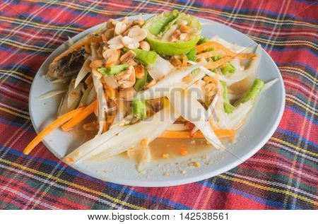 Pickled crab salad or Papaya salad (Som tum), Thailand