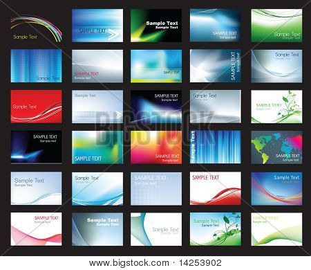 Illustration der großen Gruppe von farbigen Visitenkartenvorlagen