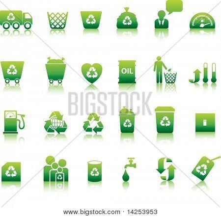Eco pictogrammenset geïllustreerd als groene knoppen