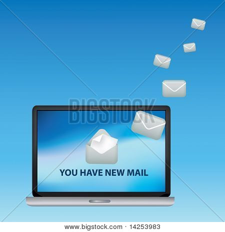 illustration of a laptop receiving incoming email