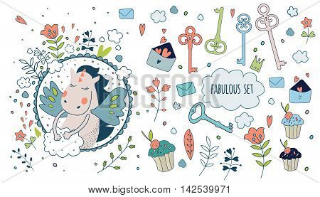 Cute magic collection with bird key flowers cakes clouds and fairy wings. Dream Spring animals and flowers. Fairytale design.Vector isolated illustration on white.