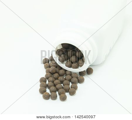 Chinese herbal medicines on a white background