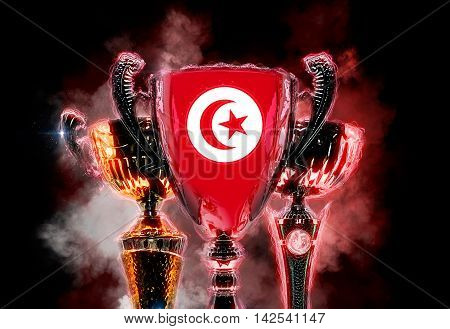 Trophy cup textured with flag of Tunisia. 2D Digital illustration.