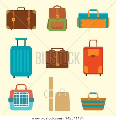 Different types of baggage. Large and small suitcase hand luggage backpack carrying animals crate handbag. Flat vector illustration